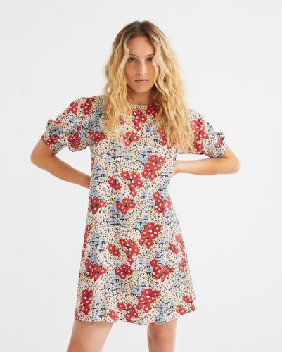 Robe courte fleurie en lenzing ecovero - floreta - Thinking Mu