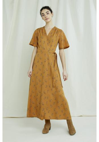 Robe longue orange à imprimé floral en tencel - caroline - People Tree