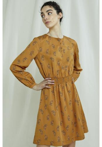Robe courte orange à imprimé floral en tencel - hanna - People Tree