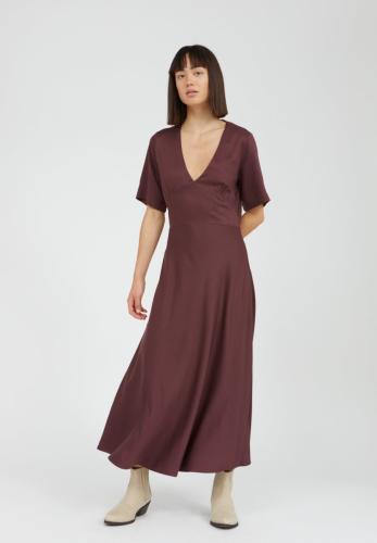Robe longue col v aubergine en lenzing - rosamaary - Armedangels