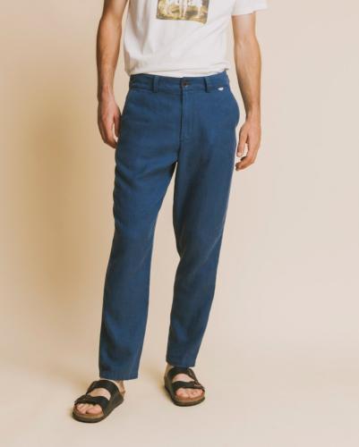 Pantalon bleu canard en chanvre et tencel - marcelino - Thinking Mu