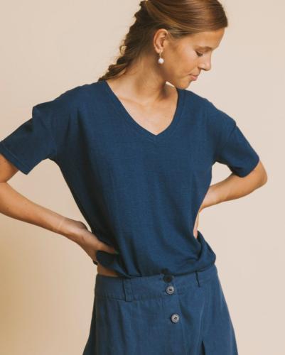 T-shirt col v bleu canard en chanvre et coton bio - chloé - Thinking Mu