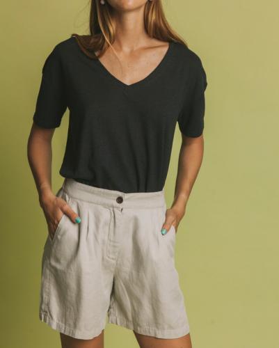 T-shirt col v noir en chanvre et coton bio - hemp clavel - Thinking Mu