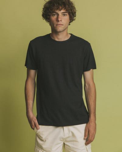 T-shirt noir en chanvre et coton bio - Thinking Mu