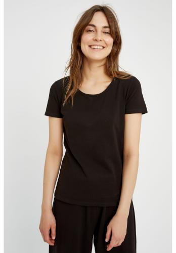 T-shirt col rond noir en coton bio - gaia - People Tree