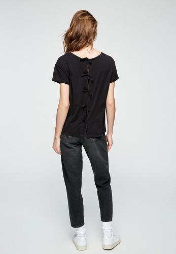 T-shirt avec n?uds noir en coton bio - ilkaa - Armedangels