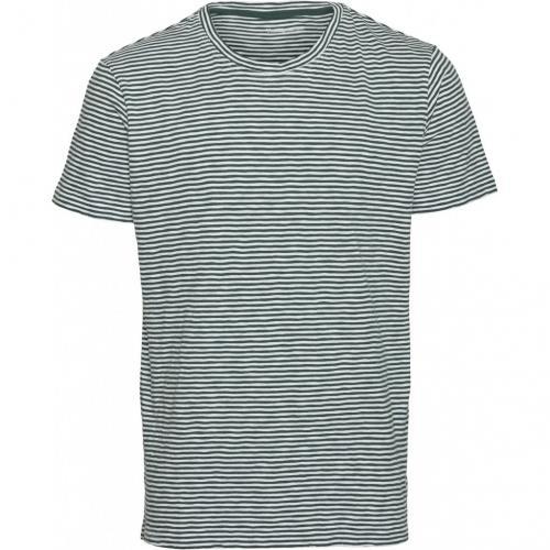 T-shirt rayé vert forêt en coton bio - alder - Knowledge Cotton Apparel