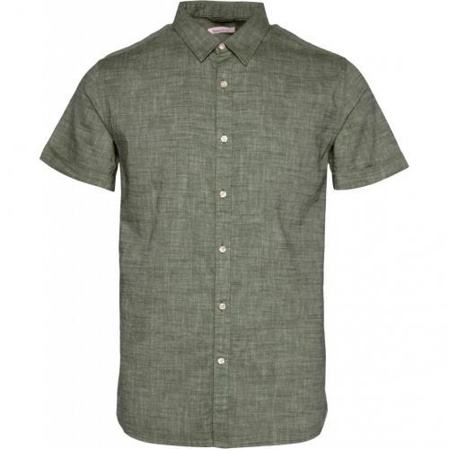 Chemise à manches courtes vert forêt en lin et coton bio - larch - Knowledge Cotton Apparel