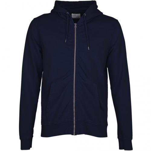 Sweat à capuche zippé marine en coton bio - navy blue - Colorful Standard