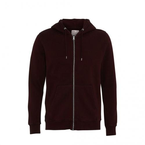 Sweat à capuche zippé bordeaux en coton bio - oxblood red - Colorful Standard