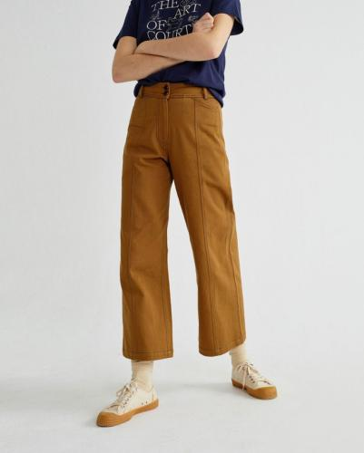 Pantalon large camel en coton bio - kupalo - Thinking Mu