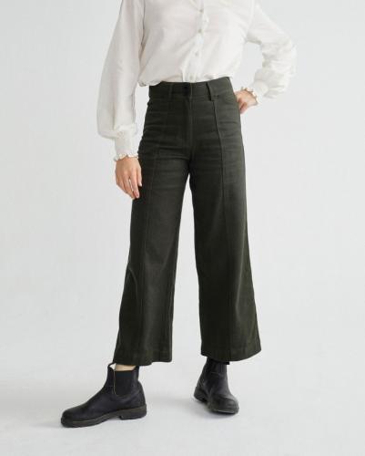 Pantalon large vert kaki en chanvre et coton bio - kupalo - Thinking Mu