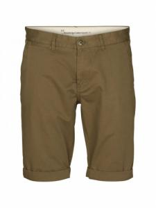 Twisted twill shorts - Burned Olive- Knowledge cotton apparel