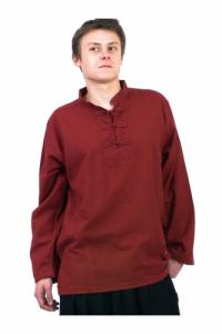 Chemise homme Col mao nepalaise rouge fonce