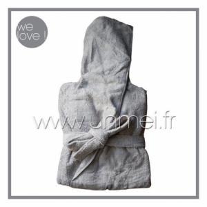 peignoir de bain à capuche cl zéro twist - fil zéro torsion ( gris L )
