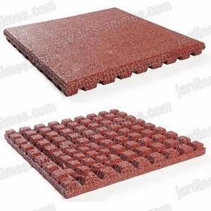 Dalle 50x50x4.3cm Rouge caoutchouc recyclé