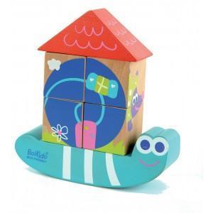 Jouet  cubes puzzle maison escargot boikido