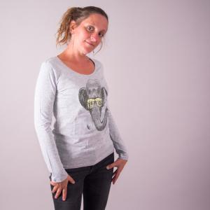 """T-shirt coton bio éthique NALIYA """"Mémoire d'éléphant"""""""