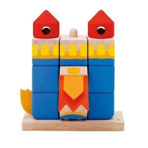 Cubes puzzle à empiler château bleu sevi 1831 - jouets en bois