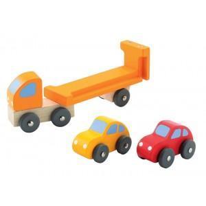 Camion remorque avec petite voitures sevi - jouets en bois  2