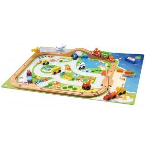 Circuit train village sevi 1831 - jouets en bois