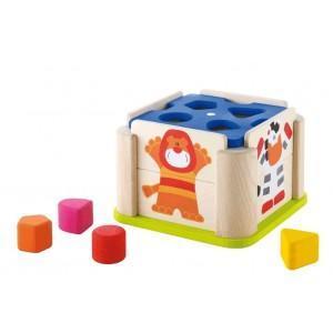 Cube jeu emboîtement animaux sevi - jouets en bois