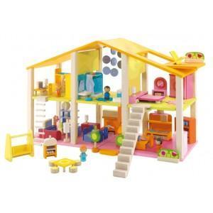 Maison poupée avec meubles sevi 1831 - jouets en bois
