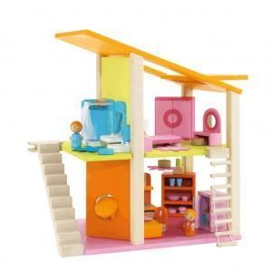 Maison poupée mini avec meubles sevi 1831 - jouets en bois 2
