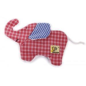 Doudou mini bouillotte elephant rouge olli olbot - doudou bio