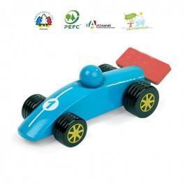 Voiture en bois Formule 1 bleue