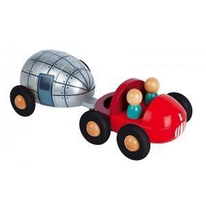 Camion en bois pick up - caravane magnet janod - jouets en bois  2
