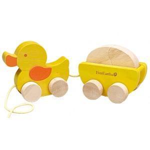 Jouet à trainer canard et son oeuf everearth - jouets bois