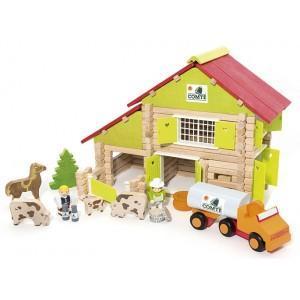 Jeujura chalet à comté avec camion et animaux (180pcs)