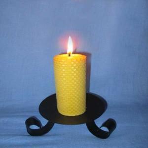 4 bougies naturelles en cire d'abeille gaufrée 4,5x10cm