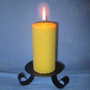 Bougie naturelle cire d'abeille (pilier 5,5x20cm) naturellement parfumée, décoration maison, idée cadeau.