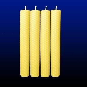 4 bougies chandelle cierge 2,5x20cm naturelles en pure cire d'abeille