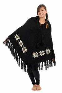 Poncho laine douce Nepal Noir et blanc etoile des neiges