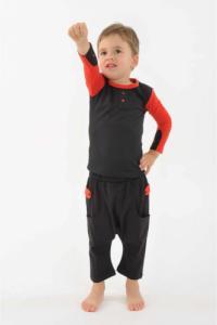 Pantalon sarouel enfant coton bio equitable Noir rouge