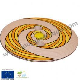 Toupie Disque en bois géante-spirale orange