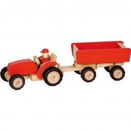 Tracteur en bois avec remorque - rouge