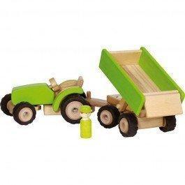 Tracteur en bois avec remorque - vert