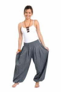 Pantalon elastique bouffant gris chine Kalika