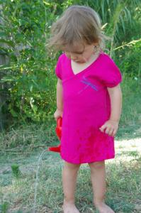Robe rose imprimé libellule en coton bio