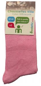 2 paires 37-41 chaussettes unies rose