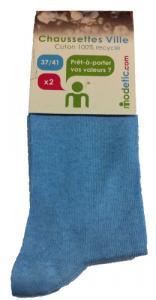 2 paires 37-41 chaussettes unies bleu