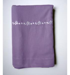 Drap plat en satin brodé Lavender Pure