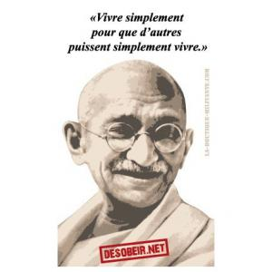 Sticker Citation Gandhi (Vivre simplement)