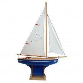 Voilier en bois coque bleue 35 cm