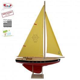 Grand voilier en bois coque rouge 53 cm
