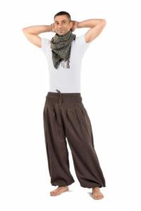 Pantalon sarouel elastique bouffant marron Elia